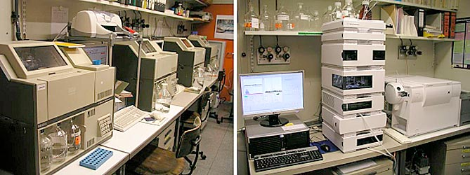 Left: HP 1090 liquid chromatograph (HPLC-DAD), right: Agilent 1200 LC-MS